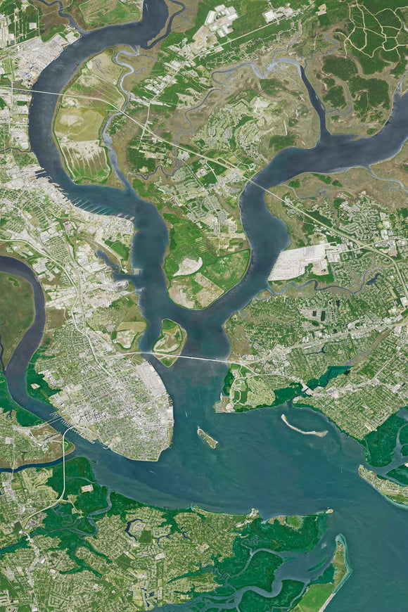 Topographical Image of Charleston Harbor, James, Island, Daniel Island, and Mount Pleasant
