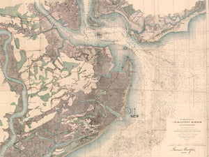 1858 General Crawford's Map w/ Morris Island Lighthouse image