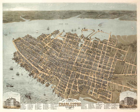 1872 Birdseye View of Charleston