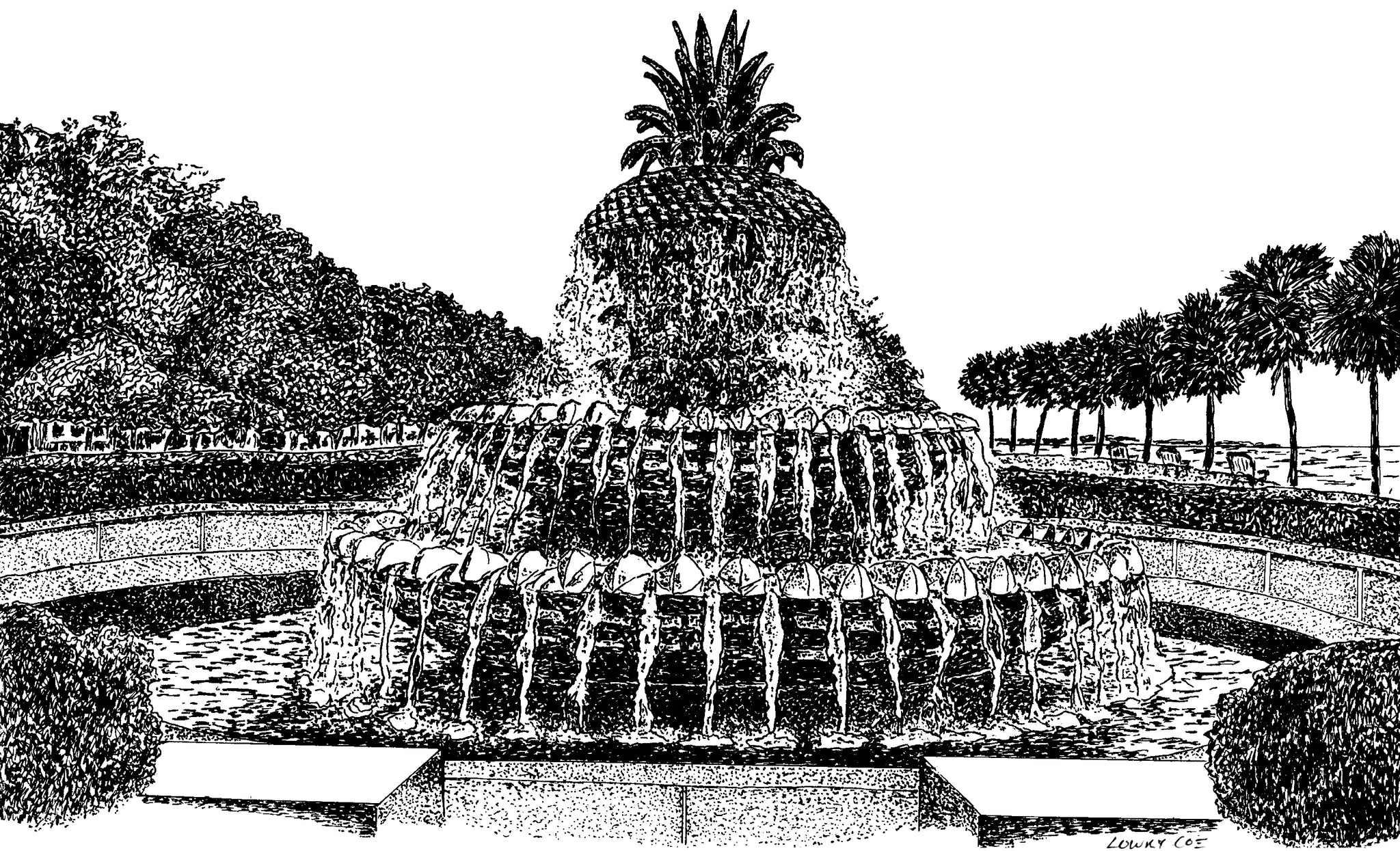Pineapple Fountain Notecards