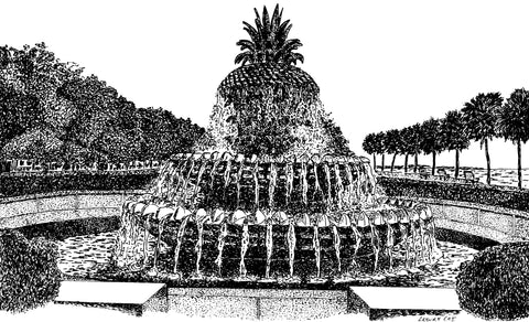 Pineapple Fountain Notecard/s