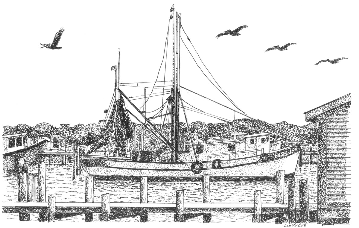 Shrimp Boat on Shem Creek Notecards