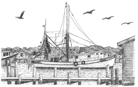 Shrimp Boat on Shem Creek Sketch
