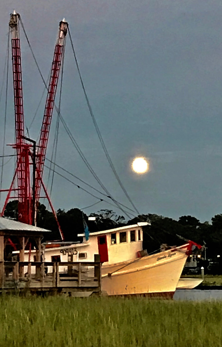 Trawler under the Full Moon by Steven Jordan