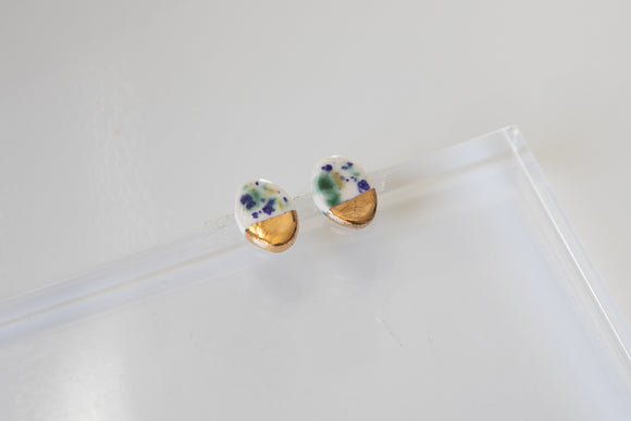 Porcelain Studs - Blue/Green Speckle