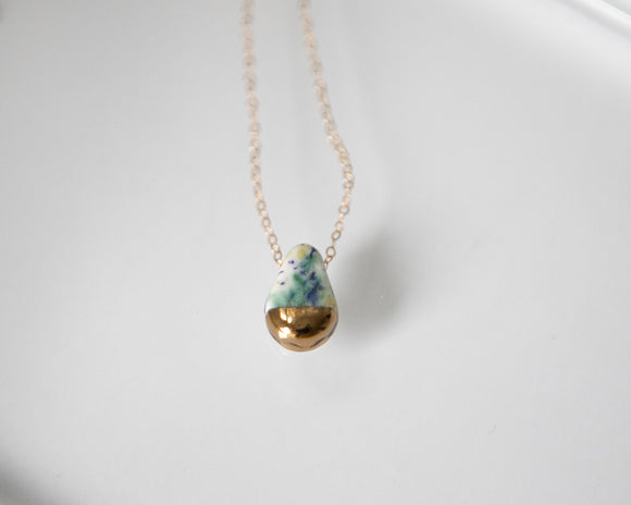 Porcelain Tear Drop Necklace Blue/Green Speckle