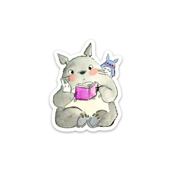 Totoro Reading Sticker