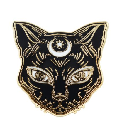 Luna the Black Cat Enamel Pin