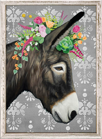 Grey Donkey Framed Canvas 5x7