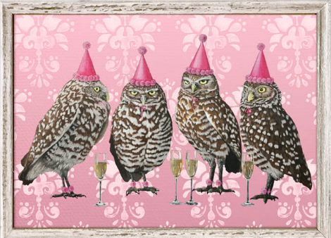 Party Owls Framed Canvas 7x5