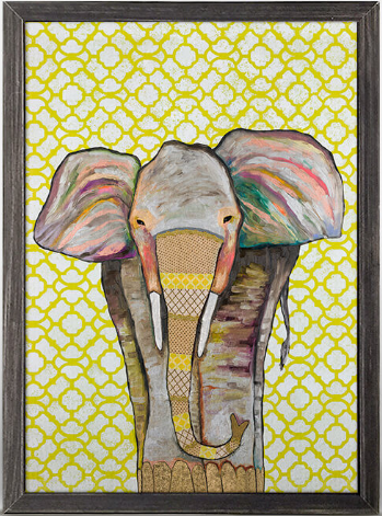 Trendy Trunk Elephant Framed Canvas 5x7