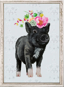 Showing Off Piglet Framed Canvas 5x7