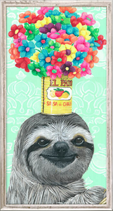 Fiesta Sloth Framed Canvas - 5x10