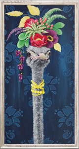 Judging Your Outfit Ostrich Framed Canvas