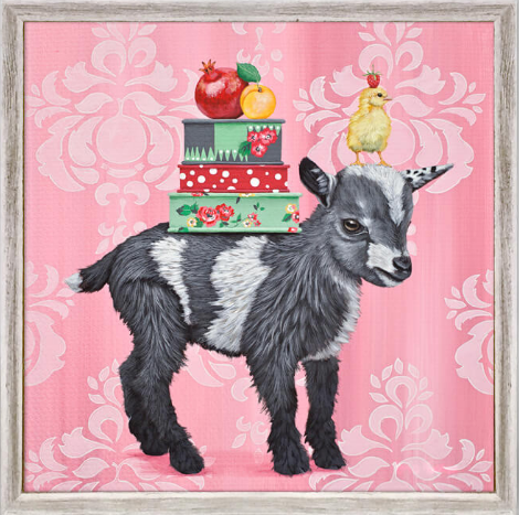 Farmers Market Goat Framed Canvas 6x6
