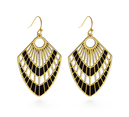 Peacock Fan Black/Brass Earrings