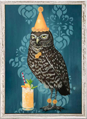 Party Owl Framed Canvas 5x7