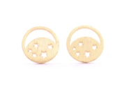 Circle Moon and Star Studs
