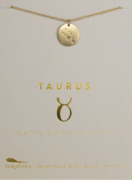 Zodiac Taurus Necklace - Lucky Feather