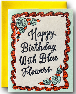 HBD with Blue Flowers - Birthday Card