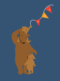Father Bear and Cubs - Father's Day Card