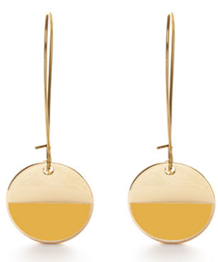 Circle Enamel Dangle Earrings -Mustard Yellow