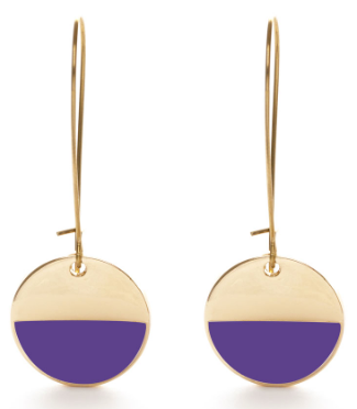 Circle Enamel Dangle Earrings - Purple