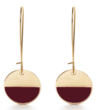 Circle Enamel Earrings - Burgundy