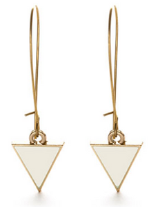 Triangle Enamel Dangle Earrings -Chalky White