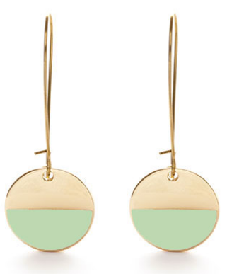 Circle Enamel Dangle Earrings - Mint