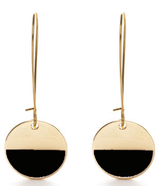 Circle Enamel Dangle Earrings - Black