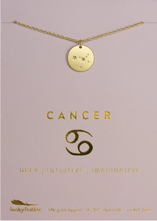 Zodiac Cancer Necklace - Lucky Feather
