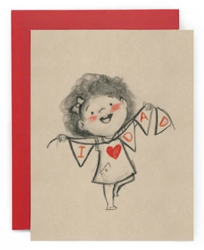 I Love Dad (Girl) Bunting - Father's Day Card