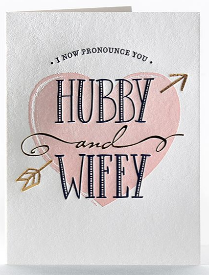 Hubby and Wifey - Wedding Card