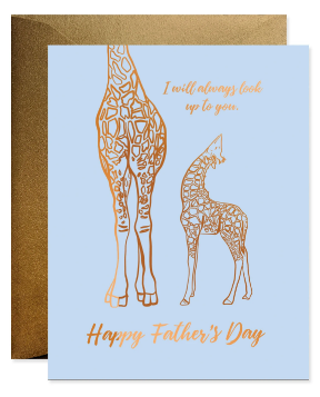 Giraffe Look Up to Dad - Father's Day Card