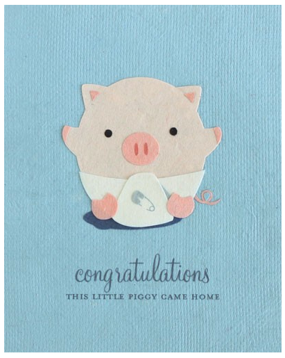Little Piggy - New Baby Card