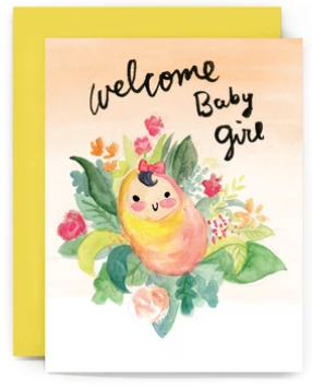 Welcome Baby Girl - New Baby Card