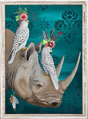 Falcons and Rhino Framed Canvas 5x7