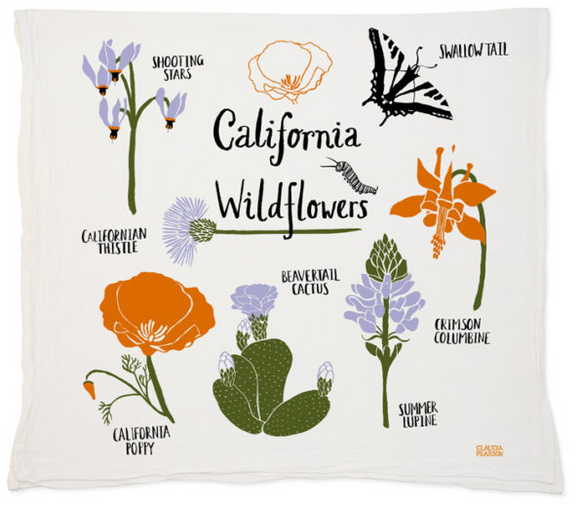 California Wildflowers Tea Towel