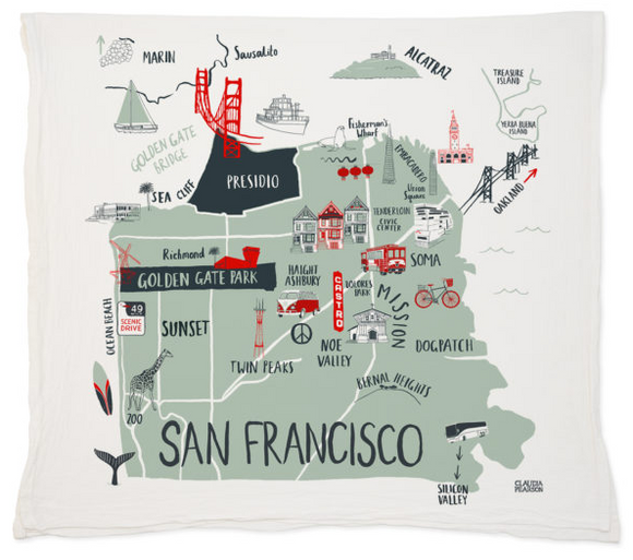 San Francisco Map Tea Towel