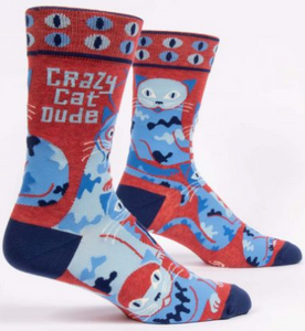 Crazy Cat Dude Mens Crew Socks