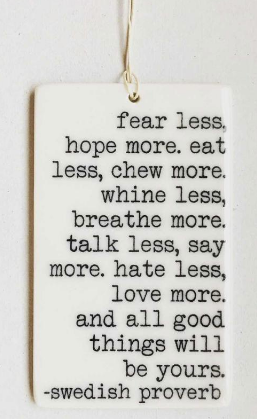 fear less, hope more... - Mini Porcelain Wall Tag