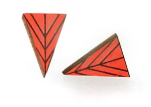 Long Triangle Wood Studs - Poppy