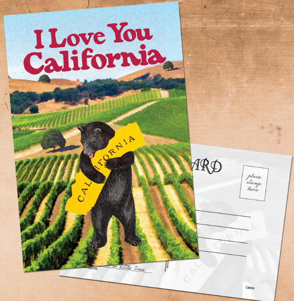I Love You CA Bear Postcard - California Vineyards