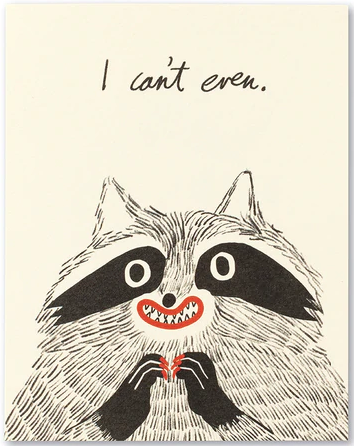 Raccoon Can't Even - Thank You Card