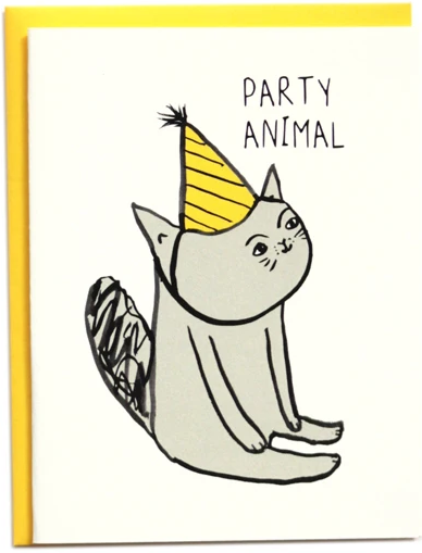 Party Animal Cat - Birthday Card