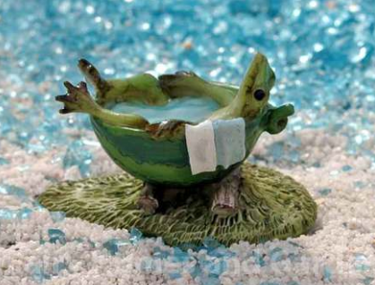 Frog in Watermelon Bathtub Figurine