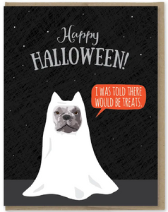 Treats French Bulldog - Halloween Card
