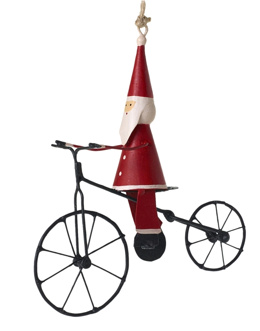Bicyle Santa Ornament