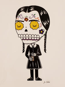 Wednesday Addams Sugar Skull Print